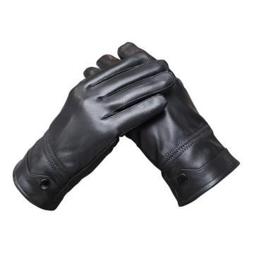8113820 防寒手套,牛皮面,羔毛里,五指,黑色,均码