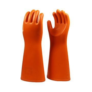 8113820 绝缘手套,天然橡胶,耐压350 0 0 V,橘黄色,均码