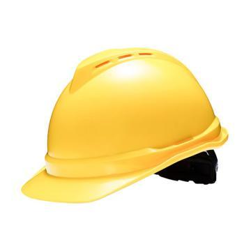 梅思安MSA ABS豪华型有孔安全帽,10146648-黄色,一指键,针织吸汗带,C型下颏带(同系列30起订)
