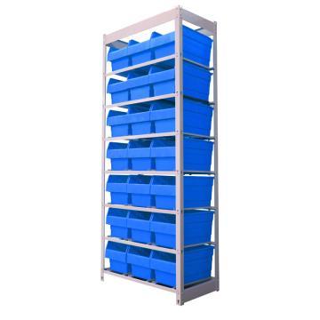 力王 轻型简易货架,颜色:电脑灰 产品尺寸(mm):710*395*1735(含零件盒:400*210*200mm蓝色 21个)