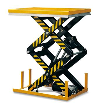Raxwell 4000Kg带安全装置的双剪电动升降平台,台面1700*1200mm 高度400-2050mm警示标贴,RMPE0024