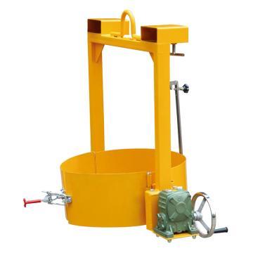 Raxwell 400Kg手搖型油桶垂直吊運/翻轉夾,手搖翻轉機構 適用Φ572-600mm鋼制或塑料油桶,RMCO0010