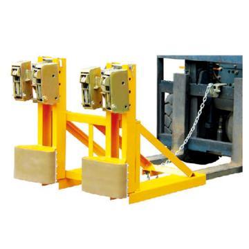 Raxwell 1000Kg加强型叼扣式油桶夹,双桶双夹 叉孔150*55mm 两叉孔内间距450mm,RMCM0014