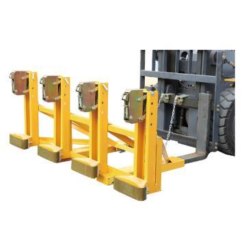 Raxwell 2000Kg加強型叼扣式油桶夾(500Kg*4桶單夾),叉孔152*54mm 兩叉孔內間距670mm,RMCM0010
