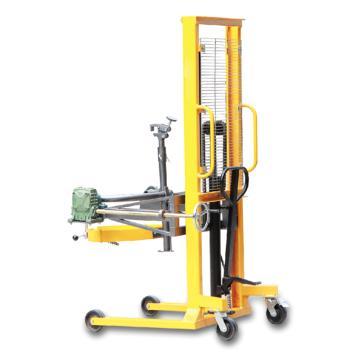 Raxwell 450Kg叼扣抱箍復合型油桶搬運車(液壓起升+手搖翻轉),行程1550mm 支腿內寬630mm,RHMC0073