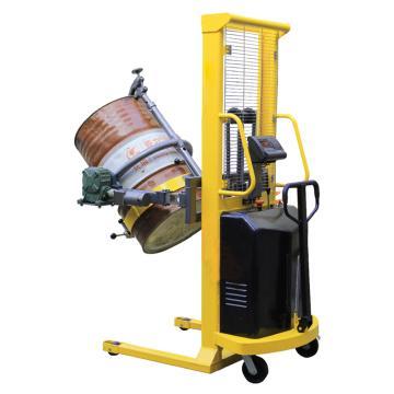 Raxwell 500Kg半電動夾抱式稱重油桶車(電動起升+電動翻轉),稱重精度±3‰行程1500mm,RHMC0078