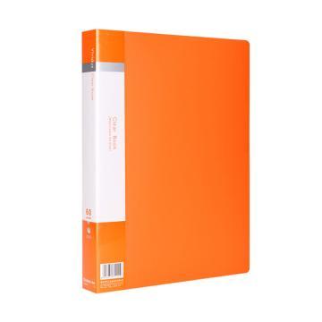 齐心 欢颜资料册,VF60AK A4 60袋 橙 单个