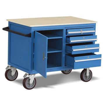 Raxwell 500KgB型可移动工具柜车,台面1150*700 台面高度930mm 带抽屉和门柜(1.5mm厚),RHTC0024