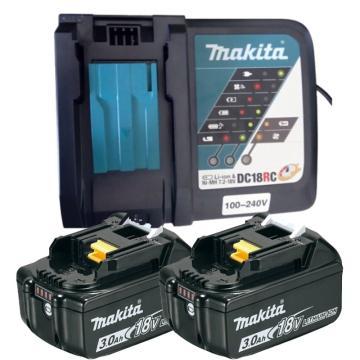 牧田 18V充電式3.0Ah鋰電池套裝,兩電一充,BL1830B*2、DC18RC*1,197683-1