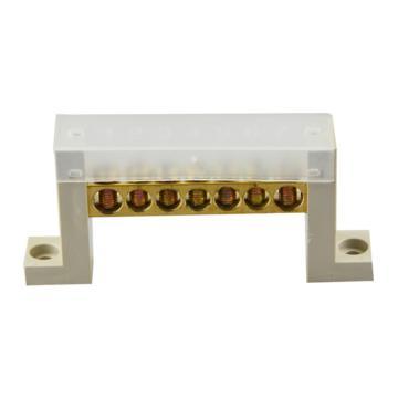 德力西DELIXI 7字型底座7孔零地排端子 带盖,DHAJDT0812F07