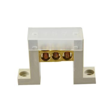 德力西DELIXI 7字型底座3孔零地排端子 带盖,DHAJDT0812F03