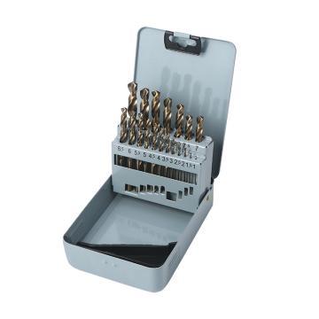 Raxwell 全磨制M35含钴高速钢直柄麻花钻组套,1-10mm,19支装,RTHD0204
