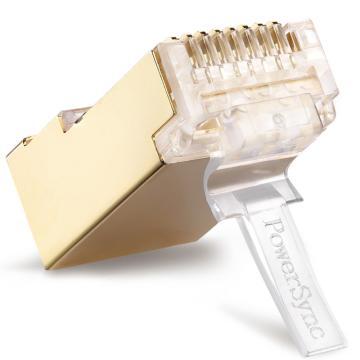 包尔星克Powersync 10入7类铜壳镀金水晶头 三叉(50u)两件式,APTG10TB