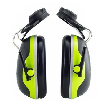 3M 挂帽式耳罩,X4P3E,PELTOR X系列 黑绿色