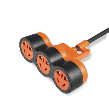 包尔星克Powersync 10A新国标抗摇摆工业级摔不烂插座 竖向三位组合孔(黑配橘)1.8米,MPSBN3EG0018