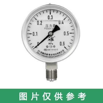 安徽天康 不锈钢压力表,Y-100B -0.01~0.15MPa 径向 M20×1.5 表壳304 接头304 弹簧管316