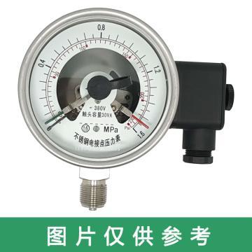 上儀 耐震電接點壓力表YNXC-100BFZ,全不銹鋼材質,徑向不帶邊,Φ100,0~1.6MPa,M20*1.5,硅油