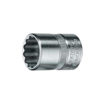 """吉多瑞 1/4""""(6.35mm)系列十二角公制套筒,10mm,6226050"""