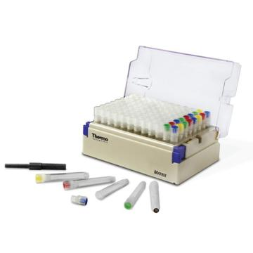 Matrix 0.5 mL 2D,聚丙烯,V形底螺旋盖冻存管带白色盖,散装,无菌,48管/包,10包/箱