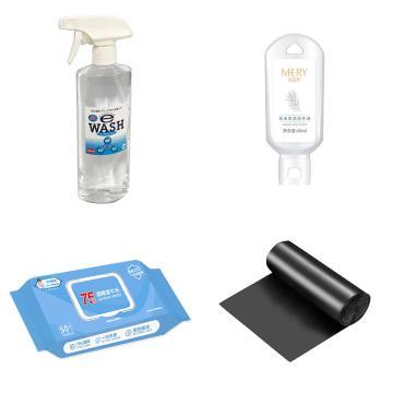 清潔防疫套裝,含1瓶eWSHA清潔離子水500ml+1瓶60ml免洗洗手液+1包消毒濕巾+1卷45*55垃圾袋