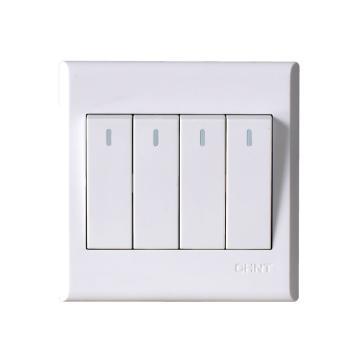 正泰CHINT NEW7S系列四聯雙控開關10A,NEW7-S00800A 白色