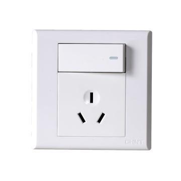 正泰CHINT NEW7S系列一位单控开关,一位三极插座16A,NEW7-S41510 白色