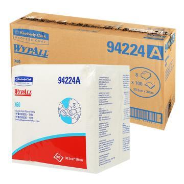 金佰利擦拭布,WYPALL X60 全能型擦拭布94224A,折疊式 100張/包 8包/箱 單位:箱