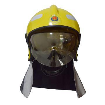 東安 F1式全盔消防滅火防護頭盔(含燈架和強光手電),3C認證,黃色,FTK-Q/F