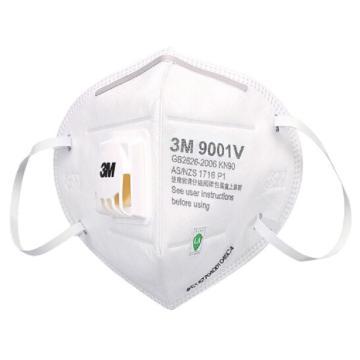 3M 防塵口罩,9001V,KN90 帶閥耳帶式,3只/盒
