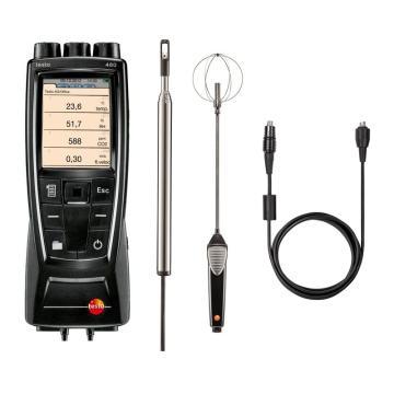 德圖/testo 480多功能測量儀配風速和紊流度探頭套裝,0563 4800+0635 1024+0628 0143+0430 0100