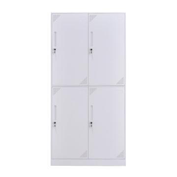 臻遠 鋼制儲物柜,收納柜更衣柜咖白色窄邊套色款 四門更衣柜,長900*寬500*高1850mm