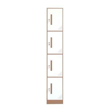 臻遠 鋼制儲物柜,收納柜更衣柜咖白色窄邊套色款 單四門更衣柜,316*500*1851mm