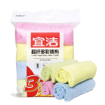 宜洁 超纤多彩抹布加大买3送1,Y-9763 40cmx40cm 单位:包