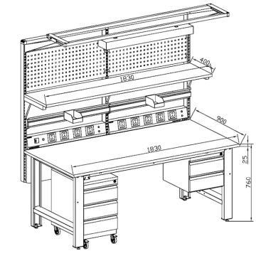 佰斯特 框架式防靜電工作臺(配可移動式矮柜),PST-90W-44