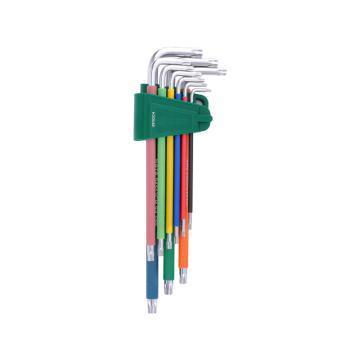 世達SATA 彩虹系列特長中孔花形內六角扳手套裝,9件套,09702CH