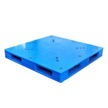 西域推薦 塑料托盤,平板雙面8根鋼管 尺寸(mm):1200*1200*150 藍色 動載1.5T 靜載6T 上貨架載重:1T