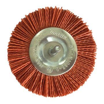 庫蘭 帶柄鋼絲輪,100mm,研磨絲/1.2mm,橙色/80目/6mm桿 /鍍鋅/RPM4500,12個/盒