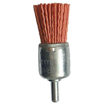 庫蘭帶柄鋼絲刷,30mm齊頭刷,研磨絲/1.2mm絲徑,橙色/80目/6mm桿/鍍鋅/RPM4500,10個/盒