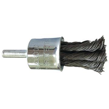 庫蘭帶柄鋼絲刷輪,25mm扭齊,鋼絲/0.5mm絲徑 /6mm桿/鍍鋅/RPM20000,12個/盒