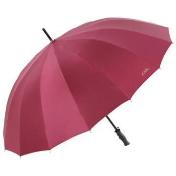 天堂伞,10009ELCJ 加大加固16根伞骨碰击布黑胶自开商务直杆晴雨伞 65cm*16k 酱红