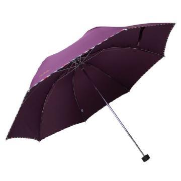 天堂伞,307E 晴雨伞藏青折叠加大雨伞拒水一甩干商务伞 57cm*8k 深紫