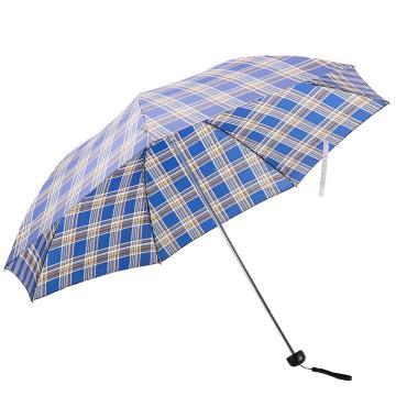 天堂伞,339S 苏格兰风格格子三折钢伞晴雨伞 57cm*7k 深蓝