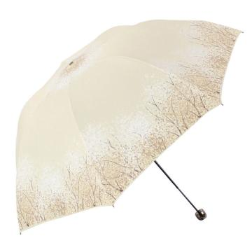 天堂傘,三折疊黑膠防曬防紫外線太陽傘鉛筆傘蘑菇傘 30134ELCJ米色