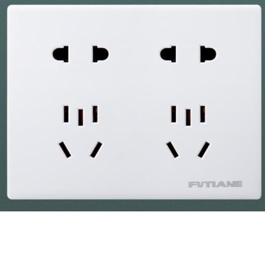 西域推荐 明装插座电源十孔面板二位二三极(长方形六孔),86mm*112mm