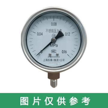 上儀 壓力表Y-60B,304不銹鋼+304不銹鋼,徑向不帶邊,Φ60,0~1.6MPa,M14*1.5