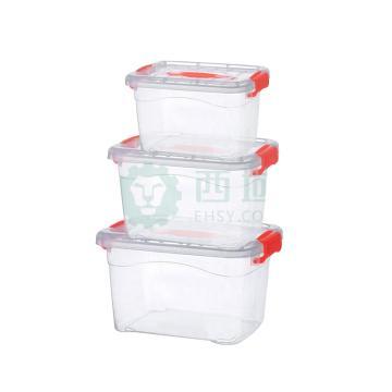 家樂銘品 收納箱, 透明塑料收納盒帶蓋子零食儲物盒 -大中小組合-3只裝DS235(顏色隨機) 單位:套