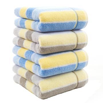 金號 純棉毛巾,GA1087W 灰藍兩色,豎條面巾4條裝 70*34cm 91g/條 (帶盒子及手提袋)