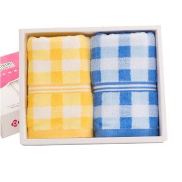 潔麗雅Grace 家紡毛巾,糖果色方格吸水面巾,二條裝 黃+蘭 68*32cm85g/條
