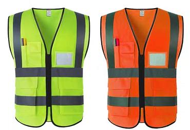 反光背心、绿色及红色、多口袋、印字带LOGO
