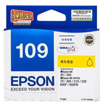 愛普生 墨盒,黃色T1094C13T109480(適用ME30/ME70/ME80W /ME1100/ME300/ME360) 單位:個